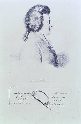 Portrait Of Wolfgang Amadeus Mozart 1756-91 With A Lock Of His Hair Attached Below Engraving Poster