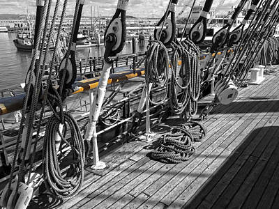 Portside Rail Of Three-masted Schooner - San Francisco Poster by Daniel Hagerman