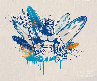 Poseidon Surfer With Skull Poster by Domenico Condello