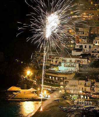 Poster featuring the photograph Positano Fireworks - Italy by Carl Amoth