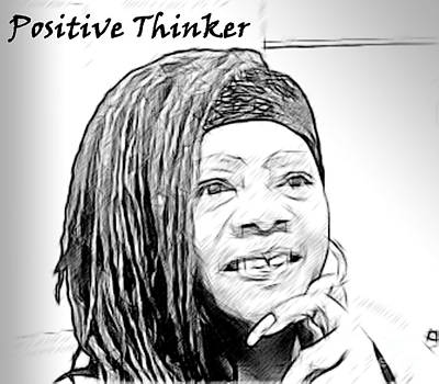 Positive Thinker Blk/wht Poster