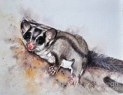 Poster featuring the painting Possum Cute Sugar Glider by Sandra Phryce-Jones