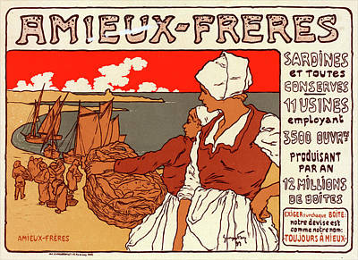 Poster For Les Sardines Amieux. Georges Fay Poster by Liszt Collection