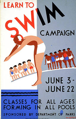 Poster Swimming, C1938 Poster by Granger