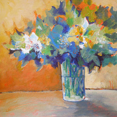 Posy In Orange And Blue Poster by Susanne Clark