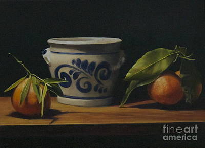 Pot And Clementines Poster by Margit Sampogna
