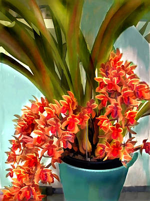 Pot Of Rust Orange Orchids Poster by Elaine Plesser