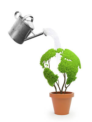 Pot Plant In Shape Of Earth Being Watered Poster
