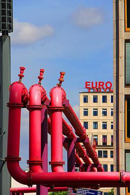 Potsdamer Platz Pink Pipes In Berlin Poster by Ben and Raisa Gertsberg