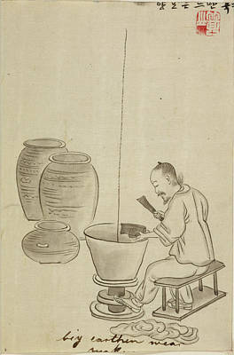 Potter Making Jars On A Kick Wheel Poster by British Library