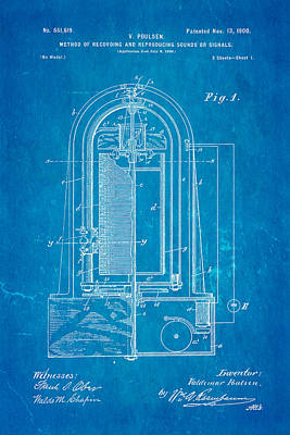Poulsen Magnetic Tape Recorder Patent Art 1900 Blueprint Poster by Ian Monk