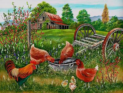 Poultry Peckin Pals Poster by Val Stokes