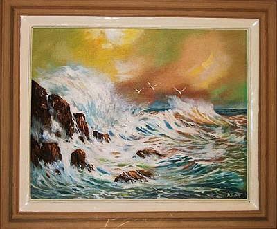 Poster featuring the painting Pounding Surf by Al Brown
