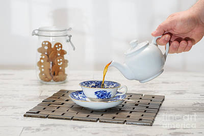 Pouring A Cup Of Tea Poster by Amanda Elwell