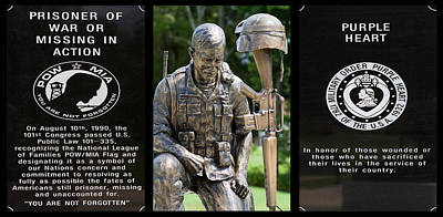 Pow - Mia - Purple Heart Soldier Memorial Poster by Kathy Clark