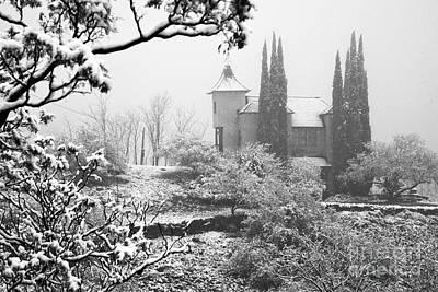 Powderbox Church With Snow In Jerome Arizona Poster