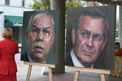 Powell And Rumsfeld In Little Rock Poster by Carl Purcell