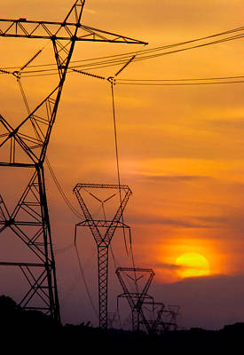 Power Lines At Sunset Poster by David and Carol Kelly