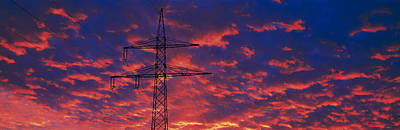 Power Lines At Sunset Germany Poster by Panoramic Images