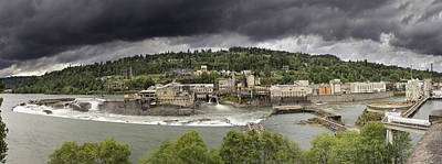 Power Plant At Willamette Falls Lock Poster by Jit Lim