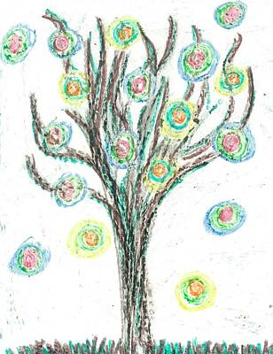 Poster featuring the drawing Power Tree by Jill Lenzmeier