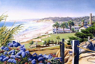 Powerhouse Beach Del Mar Blue Poster by Mary Helmreich