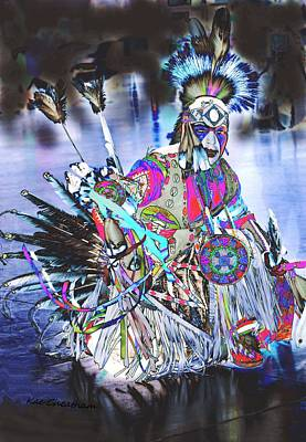 Powwow Dancer In Warrior Regalia Poster by Kae Cheatham