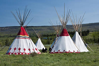 Powwow Teepees Of The Blackfoot Tribe By Glacier National Park No. 3100 Poster by Randall Nyhof