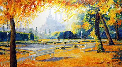 Prague Autumn In The Kralovska Zahrada Poster by Yuriy Shevchuk