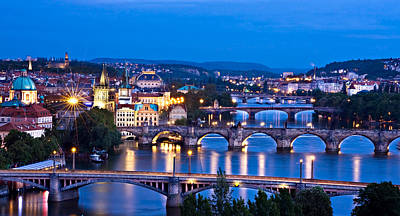 Poster featuring the photograph Prague Cityscape At Night by Barry O Carroll