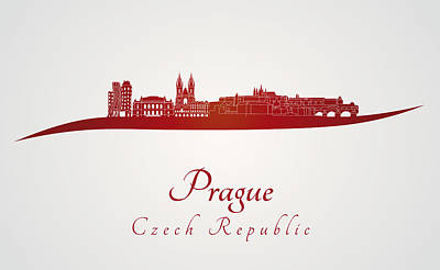 Prague Skyline In Red Poster