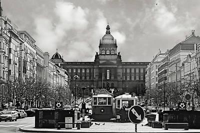 Prague Wenceslas Square And National Museum Poster