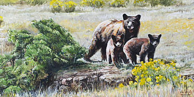 Poster featuring the painting Prairie Black Bears by Aaron Spong