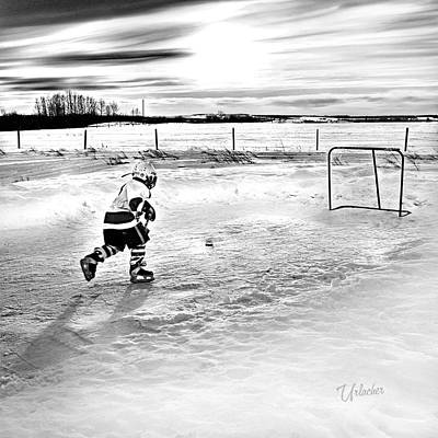 Prairie Hockey Poster by Elizabeth Urlacher