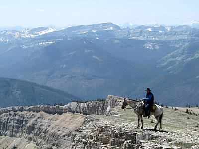 Prairie Reef View With Horse And Rider Poster
