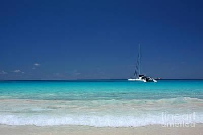 Praslin Island Catamaran Poster by Kate McKenna