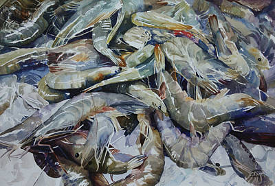 Poster featuring the painting Prawn by Helal Uddin