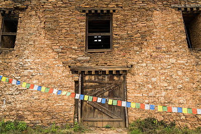 Prayer Flags In Front Of The Drukgyal Poster
