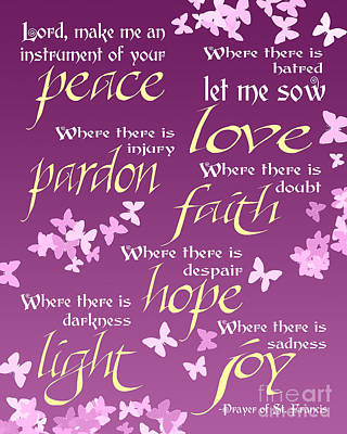 Prayer Of St Francis - Pope Francis Prayer -radiant Orchid Butterflies Poster by Ginny Gaura