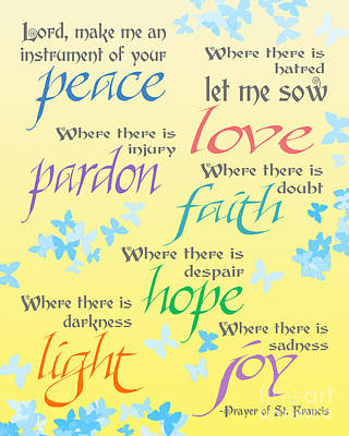 Prayer Of St Francis - Pope Francis Payer -yellow With Butterflies Poster