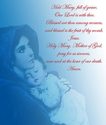 Poster featuring the digital art Prayer To Virgin Mary 2 by A Samuel