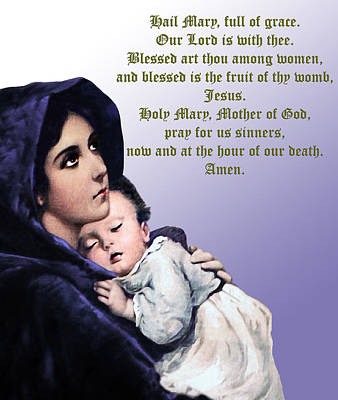 Poster featuring the digital art Prayer To Virgin Mary 3 by A Samuel