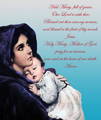 Poster featuring the digital art Prayer To Virgin Mary by A Samuel
