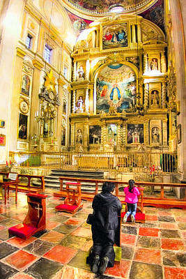 Praying At The Altar In Puebla Cathedral Poster
