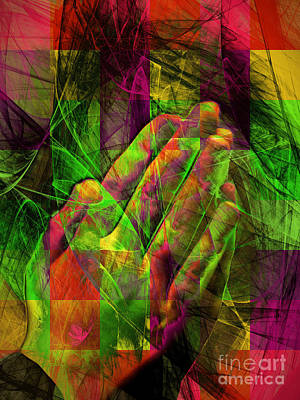 Praying Hands 20150302v2 Color Squares Ylw Poster