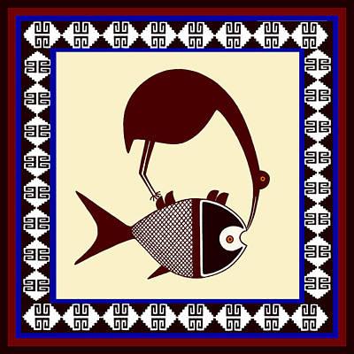 Pre-columbian Stork Fish Poster by Vagabond Folk Art - Virginia Vivier