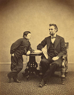 President Abraham Lincoln With Son Tad Poster