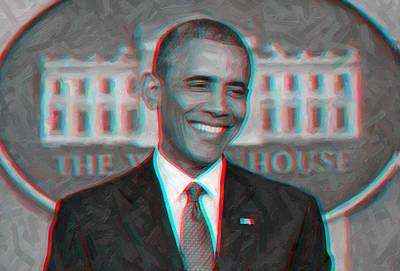 President Barack Obama In 3d Poster by Celestial Images