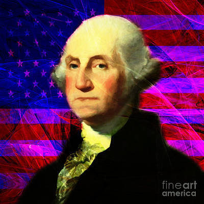 President George Washington V2 M123 Square Poster by Wingsdomain Art and Photography