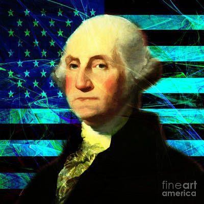 President George Washington V2 P138 Square Poster by Wingsdomain Art and Photography